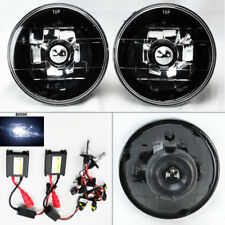 "5.75"" 5 3/4 Round 8K HID Xenon H4 Black Chrome Glass Headlight Conversion Mercur"