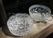 PRETTY GLASS Lot of 2 old cut bowl and nappy