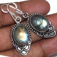 "Handmade Fire Labradorite Gemstone 925 Sterling Silver Earrings 2"" #E00316"