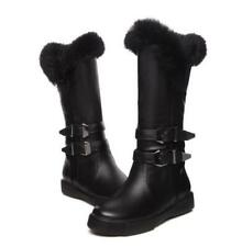Womens Ankle Boots PU Leather Furry Hidden Wedge Thick Winter Snow Boots UK Size