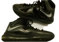 NIKE 541100-001 LEBRON X Black Diamond Metallic Silver HEAT ZOOM Men's Size 12