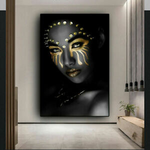 AFRICAN BLACK GOLD NUDE WOMAN 20X30 INCHES WALL ART CANVAS