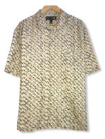 Nat Nast Men's Off White Geometric 100% Silk Bowling Button Front Shirt Sz Large