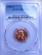 1954-S Lincoln Wheat Cent Pcgs Ms67Rd Lf0139C/Ln
