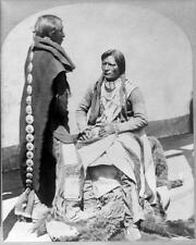Photo 1873 New Mexico. Native American Ute Braves In Traditional Dress
