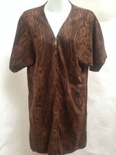Vivienne Tam S Shirt Dress Brown Animal Zipper Short Sleeves