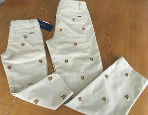 NWT Ralph Lauren Polo Boys Embroidered Shield Khaki Chino Pants Sizes 2-16