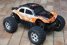 Custom Bug Body Muddy Orange/WB Shell for HPI Savage Flux HP 1/8 VW Baja Beetle