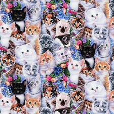 Fat Quarter Kittens and Flowers Digitally Printed 100% Cotton Quilting Fabric