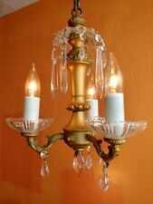 Antique Guilded Hand painted Brass petite 3 arm Chandelier glass flowers