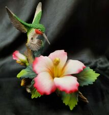 Andrea by Sadek Hummingbird Pink/Yellow Hibiscus Porcelain Figurine Bright Color