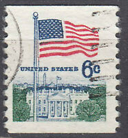 USA Briefmarke gestempelt 6c Fahne Flagge White House Rundstempel / 2921