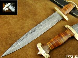 HANDMADE DAMASCUS STEEL KNIFE DOUBLE EDGE SWISS DAGGER HUNTING KNIFE 4772-23