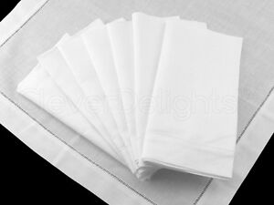 "6 White Ladder Hemstitch Dinner Napkins - 20"" x 20"" - 55/45 Linen Cotton Blend"