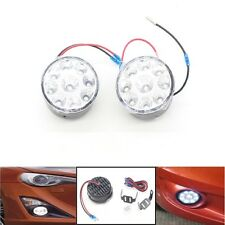 1 Pair White 12V 9 LED Round Daytime Running Light DRL Car Fog Day Driving Lamp