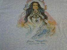 """Native American Design Jan Taylor """"Eyes of the Wolf"""" T Shirt Heather Blue Xl M9"""