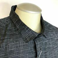 IKE Behar Mens Shirt Stretch Black Stylish XL Button Up Long Sleeve $95 New