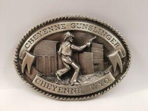 HD Silver Cheyenne Gunslinger limited edition Belt Buckle #47 of 1000 Cowboy