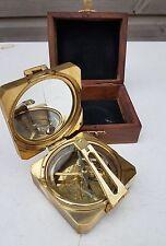"Vintage Nautical 3"" Square Heavy Brass Brunton Compass Steampunk"