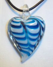 Murano Glass Lampwork BLUE and BLACK Heart Pendant on BLACK Cord Necklace K-10