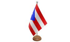 Puerto Rico de Mesa Bandera (22.9cm x 15.2cm) Con Estante de Madera