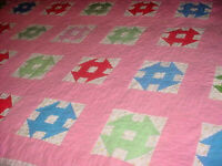 VINTAGE INDIANA (  MIRIAH HILL PICNIC QUILT ) COLORFUL DECOR  AS FOUND ESTATE PC