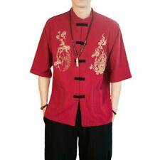 Men's Chinese style Embroidered Shirt Stand collar Hanfu Blouses Loose Fit New L