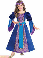 Girls Medieval Princess Maid Queen Fairytale Book Day Blue Fancy Dress Costume