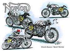 Litho Norton Manx Classic Racer door John Hancox