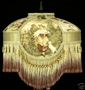 VICTORIAN LAMPSHADE RARE RED FRAGONARD TOILE Fabric