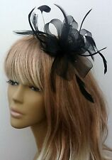 New Black Crin Feather fascinator on Headband Headpiece Weddings Races Ladys Day