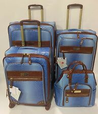 SAMANTHA BROWN PERIWINKLE OMBRE 4PC SPINNER LUGGAGE SET EXPANDABLE BACKPACK