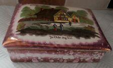 VINTAGE - GRAY'S POTTERY - HAND PAINTED SUNDERLAND LUSTRE - LIDDED TRINKET BOX
