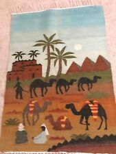 Vintage Egyptian100%Wool Tapestry Pyramids,Camels,Bedouin Handmade of Siwa Egypt