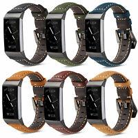 Vintage Matte Wrist Band For Fitbit Charge 3 Strap Genuine Leather Bracelet Belt