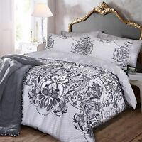 New Lace Print Black Grey Reversible  Duvet Quilt Bedding Cover Pillowcase Set