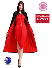 Women Girl Halloween Hoodie Cape Cloak Vampire Witch Fancy Costume Black red 120