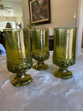 Tiffin Franciscan Madeira Olive Green Footed Drinking Glass Vintage Set of 3