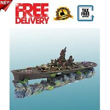 Fish Tank Decorations Ship Rock Boat Plants Coral Cave Aquarium Accessories New
