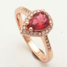 Romantic Size6 Red Teardrop Cubic Zircon Rose Gold Plated Ring+Gift Pouch (8340)