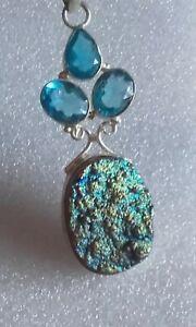 Titanium Druzy & blue topaz silver 925 pendant / chain