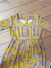 JOULES DRESS Mustard Yellow Floral Shift A-Line Summer UK 12 / 40 - VGC