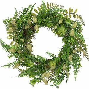 Artificial Spring Succulent Wreaths Front Door Fern Leaves Greenery Wreath Twig