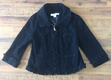 Women's Anthropologie Mac & Jac Size L Black Jacket With Ruffles