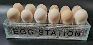 CRUSH DIAMOND NEW EGG STATION HOLDER HOLDS 12 EGGS BLING KITCHEN