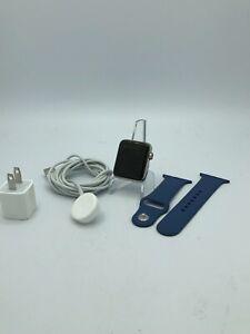 Apple Watch Series 3 Cellular Silver Stainless Steel 42mm w/ Blue Sport Good