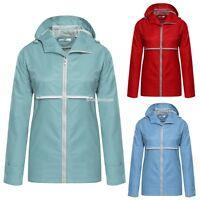 Damen Reißverschluss Jacke Wasserfest Winddicht Mantel Kapuze 4 Farben Wind