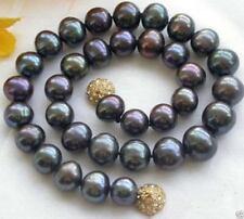 "Wonderful Genuine Natural 9-10MM Black Akoya Freshwater Pearl Necklace 18""AAA"