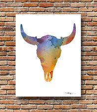 Buffalo Skull Abstract Watercolor Wildlife Painting 11 x 14 Art Print by DJR