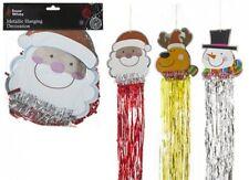 3 x Metallic Christmas Hanging Decorations Santa Snowman Rudolf
